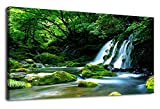 fall pictures - Canvas Wall Art Waterfall Nature Painting Canvas Prints, Panoramic Canvas Artwork Contemporary Pictures Green Forest Trees River for Home Decoration