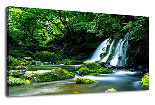 (Waterfall Canvas Wall Art Living Room Decoration Large Nature Picture Artwork Modern Wall Art Landscape Green Forest for Kitchen Office Wall Decor Home Decorations Framed Ready to Hang 20