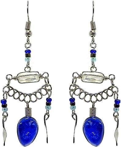 Purple//Black Teardrop Cats Eye Beaded Horizontal Wire Wrapped Quartz Crystal Dangle Earrings