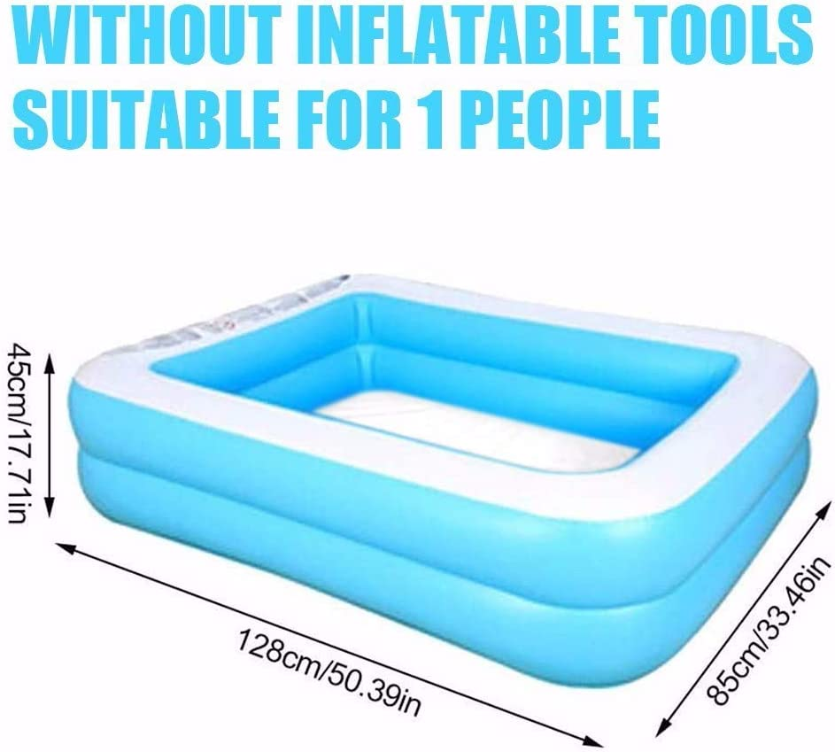 Backyard Family Inflatable Swimming Kiddie Pool,Rectangular Swimming Pool,Full-Sized Inflatable Lounge Pool,Square Swimming Pool for Toddlers Outdoor 43.31x34.65x12.99in Kids Above Ground