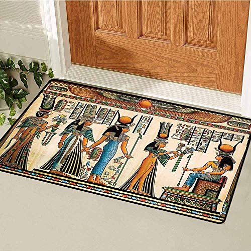 GloriaJohnson Egyptian Inlet Outdoor Door mat Egyptian Papyrus Depicting Queen Nefertari Making an Offering to Isis Image Print Catch dust Snow and mud W31.5 x L47.2 Inch Multicolor