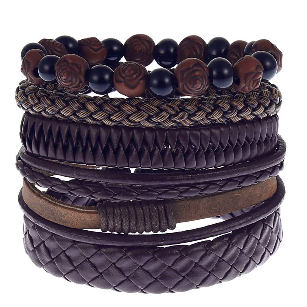 Tantisy ♣↭♣ Bracelet for Men ☘ Fashion Simple Vintage Woven Leather Jewelry Boy Multi-Color Five Floors Bracelet Set
