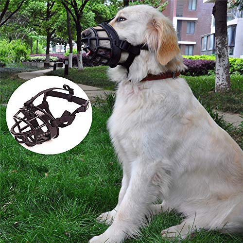 JYHY Soft Silicone Basket Dog Muzzles-Adjustable Breathable Biting Chewing Barking Training Dog mask for Small Medium Large Dogs,Black 1