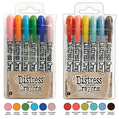 Ranger Tim Holtz 12 Distress Crayons Sets #6, #7 (TDBK51763+TDBK51770)