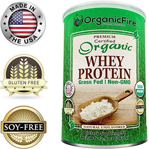 Aria Chocolate (OrganicFire - Best Organic Whey Protein Powder - Build Lean Muscle Mass for Men - Natural Weight Loss for Women - 100% Guaranteed - Pre Post Workout BCAA - Gluten)