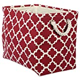 DII Collapsible Polyester Storage Basket or Bin with Durable Cotton Handles, Home Organizer Solution for Office, Bedroom, Closet, Toys, Laundry (Medium – 16x10x12), Rust Lattice