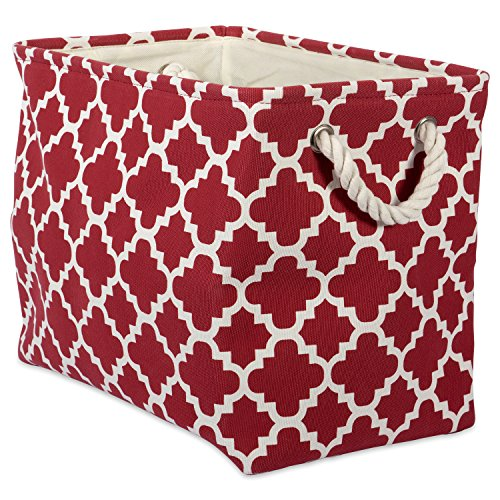 DII Printed Polyester, Collapsible and Convenient Storage Bin to Organize Office, Bedroom, Closet, Kid's Toys, Laundry  -  - Small Rectangle, Rust Lattice,