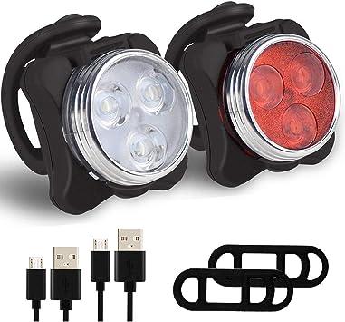 88TV Luz para Bicicleta por USB Conjunto de Luces Delantera y ...