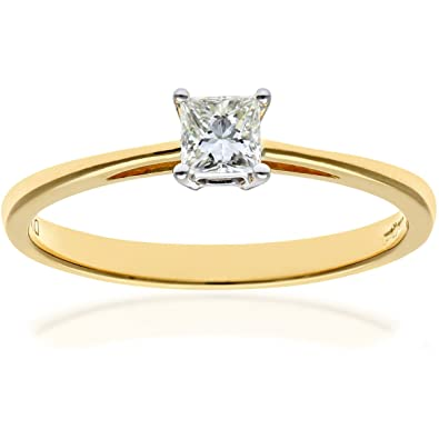 Naava Women s 18 ct Yellow Gold Four Claw J I Certified Princess