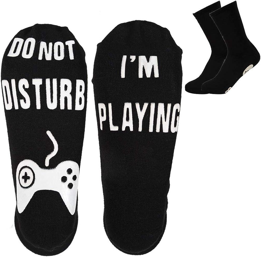 Ankle Socks Novelty Crew Funny Socks 2 Pairs Cotton Non Slip Socks for Men Kids Boys Great Gift for Game Lovers,Black