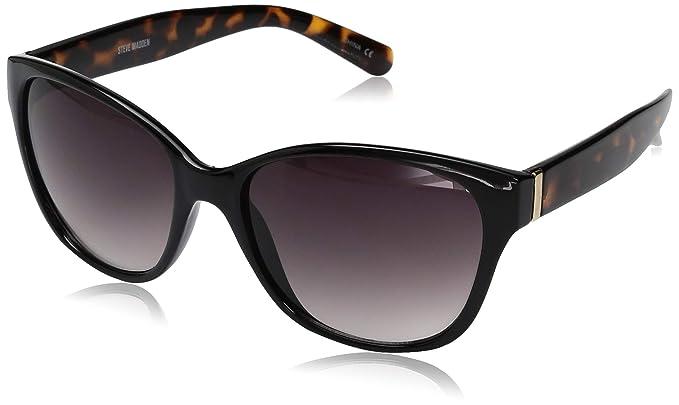 a024cc4f5272 Amazon.com: Steve Madden Women's Sm873142 Square Sunglasses, Black ...