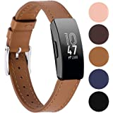 Genuine Leather Bands Compatible for Fitbit Inspire Bands and Inspire HR Bands, Classic Replacement Accessories Strap Genuine Leather Wristbands Metal Connectors Women Men Small Large Brown