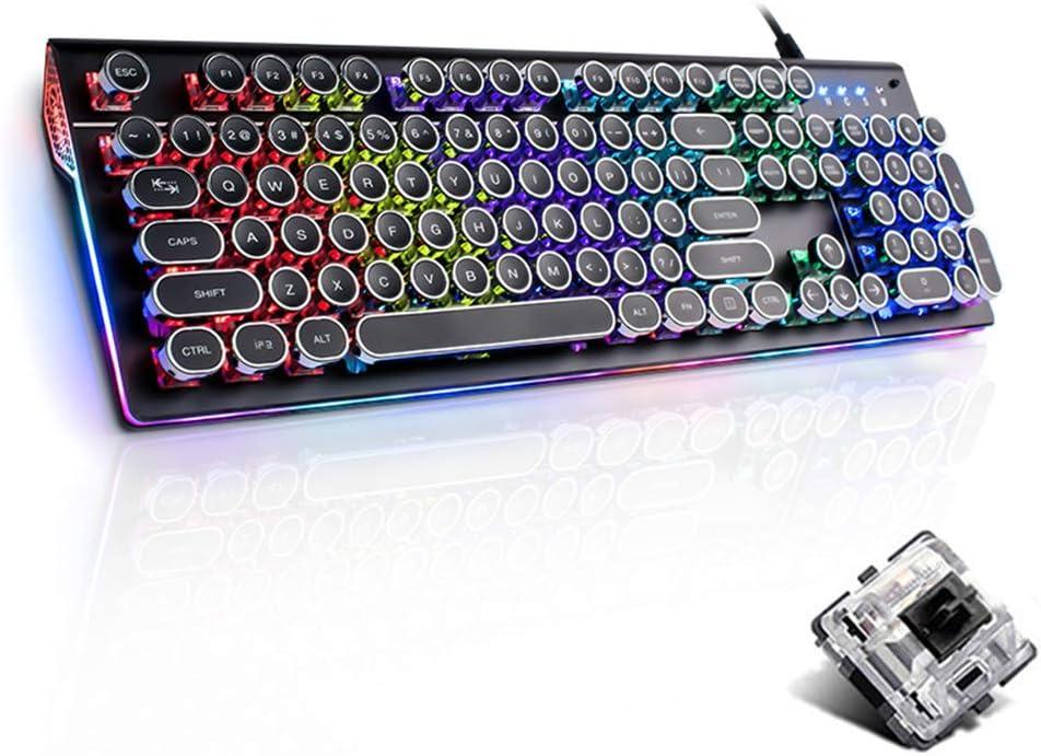 Mechanical Gaming Keyboard,Black Switch Mix Backlight Retro Plating Punk Keycaps Multimedia Ergonomic USB Wired Game Keyboard for PC Laptop Office Keyboard Portable Gaming Keyboard Color : Black