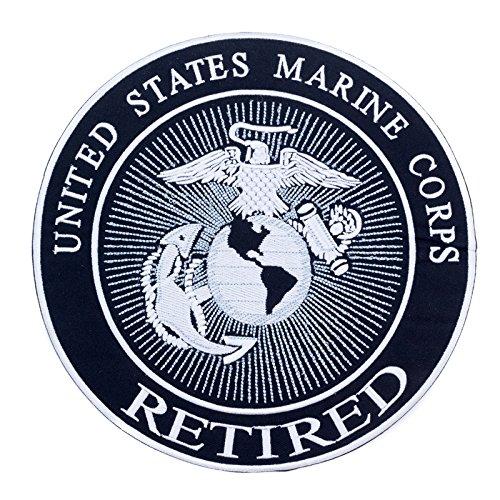 (UNITED STATES MARINE CORPS RETIRED Black w/ White 10