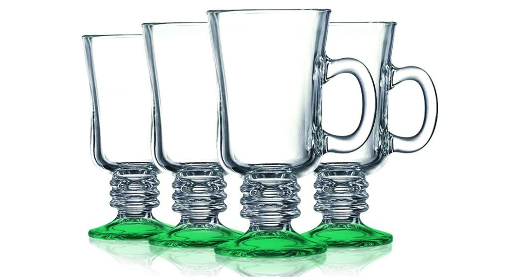 Emerald Green Irish Coffee Mug Bottom Colored - 8.5 oz. set of 4- Additional Vibrant Colors Available by TableTop King