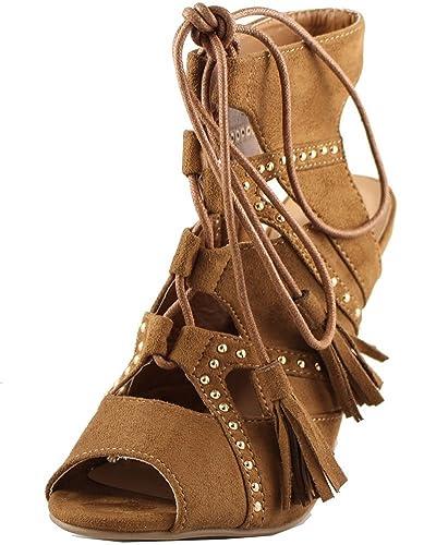 8bbc00d9e47 DEV Women s Suede Lace up Pencil Heel Sandal Shoes New Without Box Tan