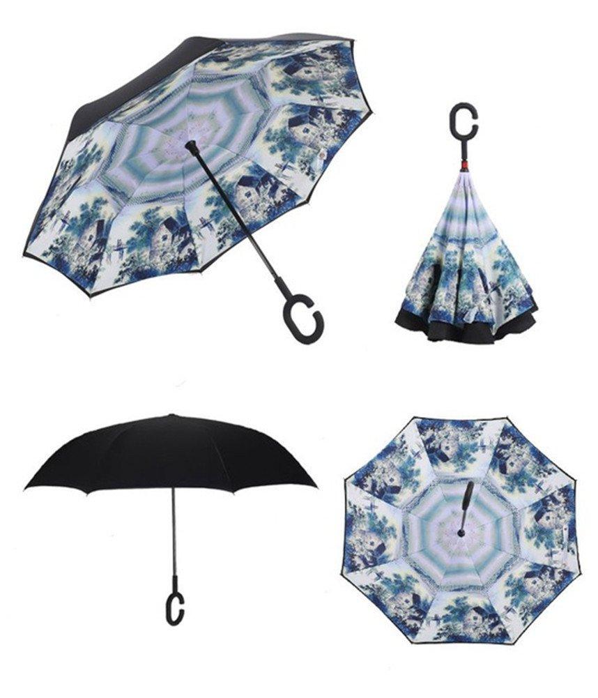 Paraguas invertido de doble capa independiente que se mantiene en pie por sí solo, paraguas de plegado invertido con mango en forma de C para mantener las ...