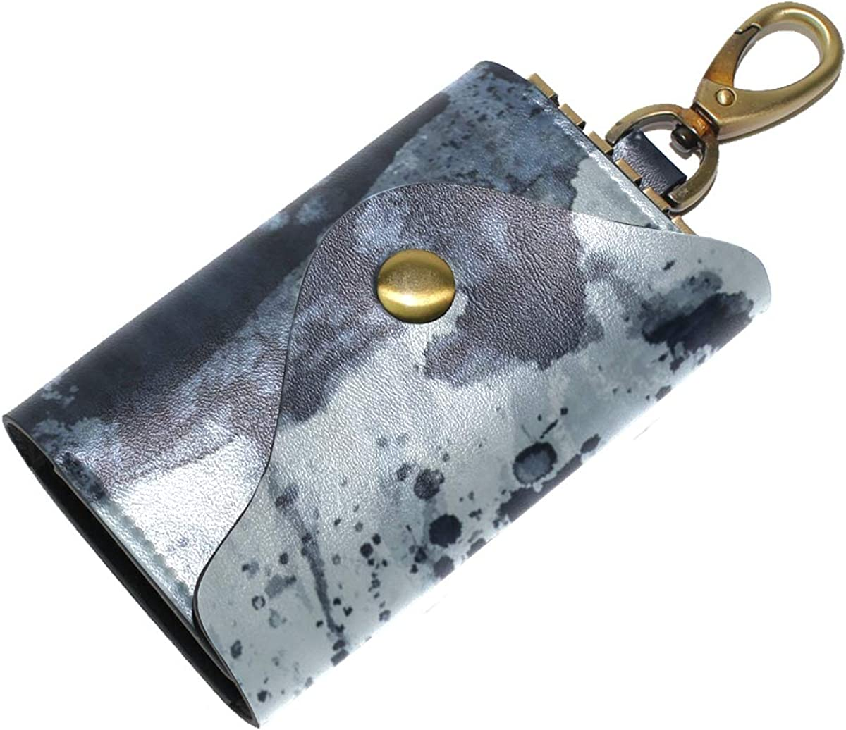 KEAKIA Contemporary Blue And Grey Leather Key Case Wallets Tri-fold Key Holder Keychains with 6 Hooks 2 Slot Snap Closure for Men Women