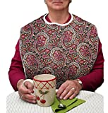 RMS Adult Bib Washable Reusable Waterproof Clothing Protector with Vinyl Backing and Velcro Closure 34''X18'', Designer Patterns (Heritage)