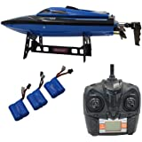 Blomiky H100 2.4GHz 4CH Automatic capsize High Speed Racing RC Boat Waterproof Remote Control Boat Extra 2 Battery TKKJ H100 Ship Blue