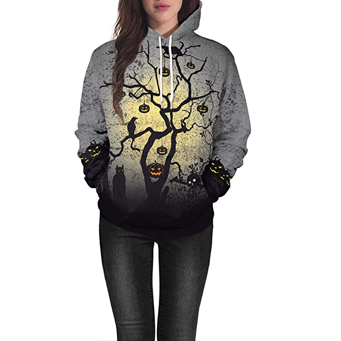 online retailer 814e8 46980 YunYoud Frauen Halloween Kürbis Print Langarm Pullover Bluse ...