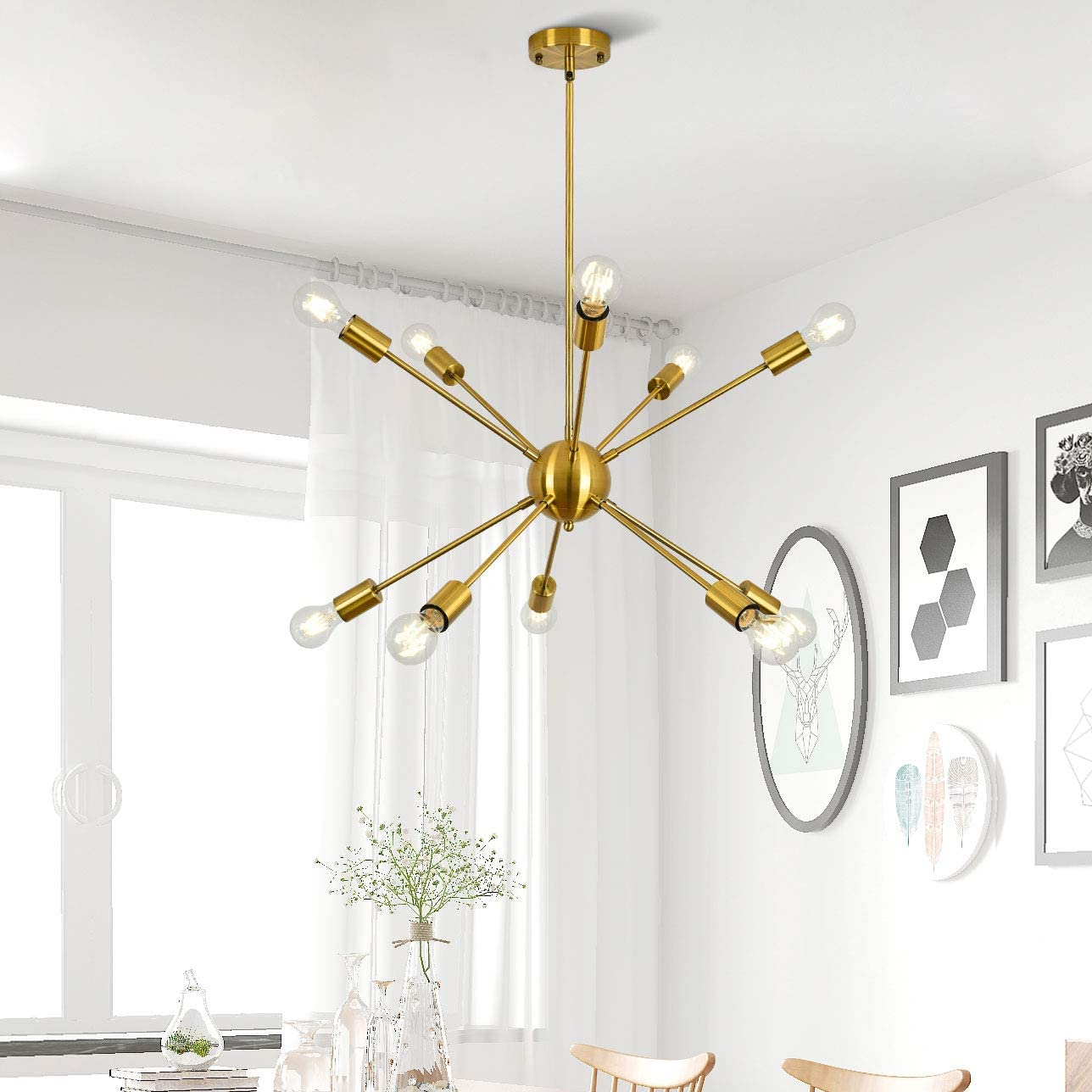 Sputnik Chandeliers 10 Lights Brass Modern Pendant Lighting Mid Century Ceiling Light Fixture for Kitchen Living Room Bedroom