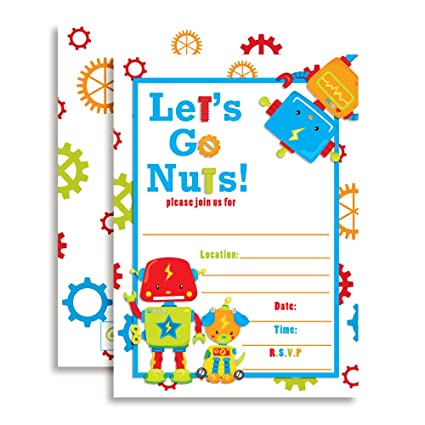 Amazon robot birthday party invitations ten 5x7 fill in robot birthday party invitations ten 5quotx7quot fill in cards with 10 white filmwisefo