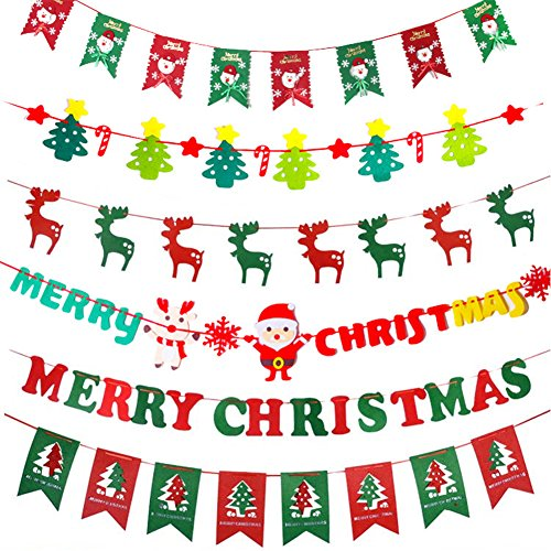 6PC Christmas Bunner Merry Christmas Tree Pictures Bunting printed flag party fireplace garland Church Pennant Clipart Holiday home Sign Banners outdoor indoor ornament decoration (Christmas Tree Merry Art Clip)