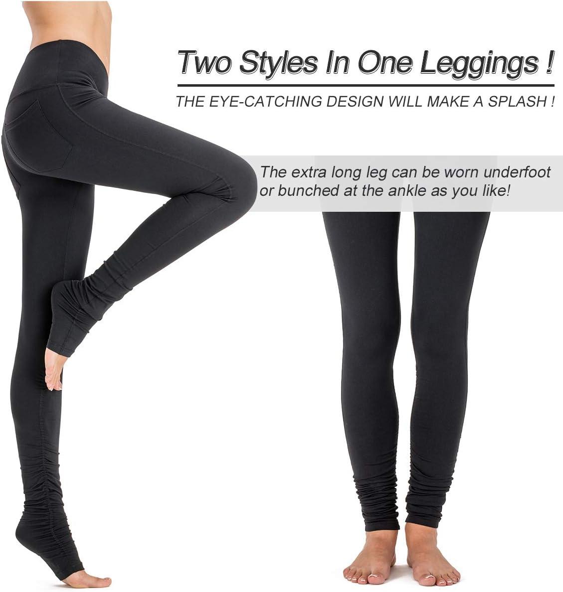 Amazon Com Naviskin Women S High Waisted Extra Long Yoga Leggings Over The Heel Leggings Back Pocket Clothing