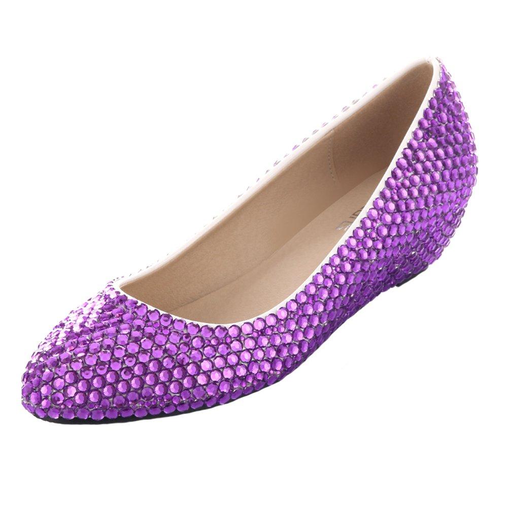 VELCANS Ladies Sparkly Pearl and Rhinestone Wedges Heels Platform Dress Bridal,Wedding,Prom,Evening,Party Designer Shoes (7 C/D(W) US, Purple Of High Heel:1.6'')