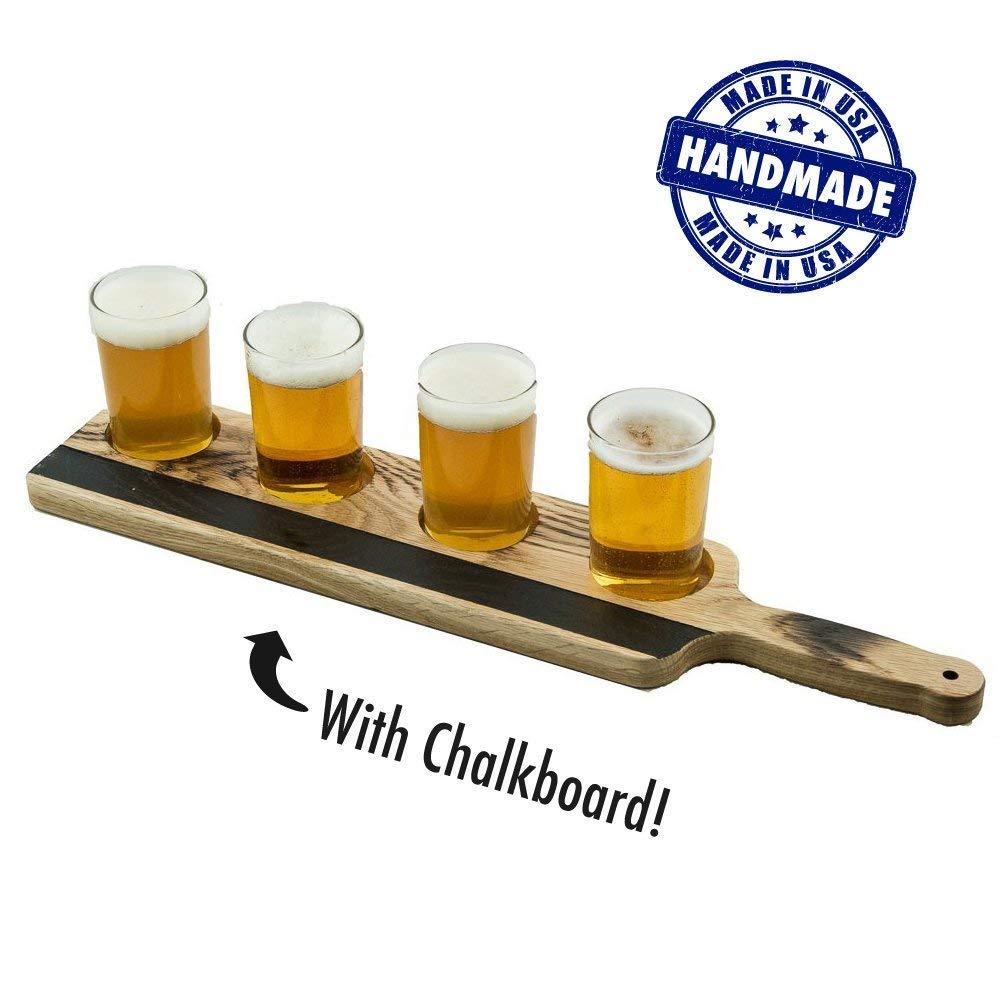 Handmade Deluxe Professional Charred Oak Barrel Beer or Whiskey Flight with Chalkboard, 5-Piece