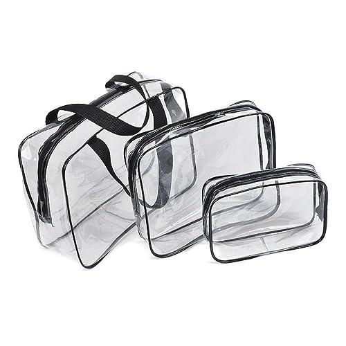 1b92953875c4 Amazon.com: 3Pcs Clear Cosmetic Bag Vinyl Air Travel Toiletry Bags ...