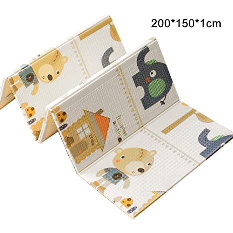 antideslizante extragrande impermeable port/átil para ni/ños peque/ños y beb/és(200 x 180 cm) plegable de doble cara Takefuns Alfombrilla de juegos para beb/é reversible