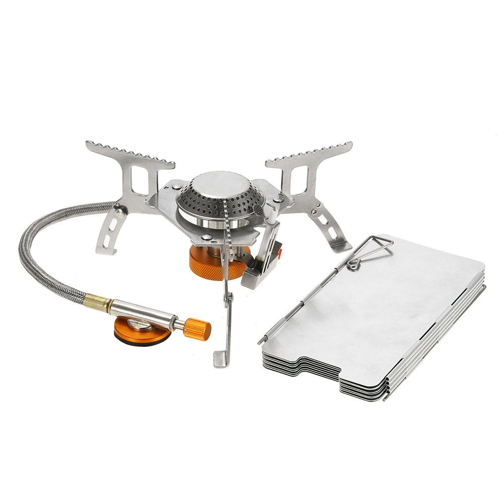 lixada Camping Gas Stove,Convenient Piezo Ignition,Durable&Portable,Split Burner with Gas Conversion Head Adapter and Carrying Case(Optional) (Gas Stove+Windshield) by Lixada