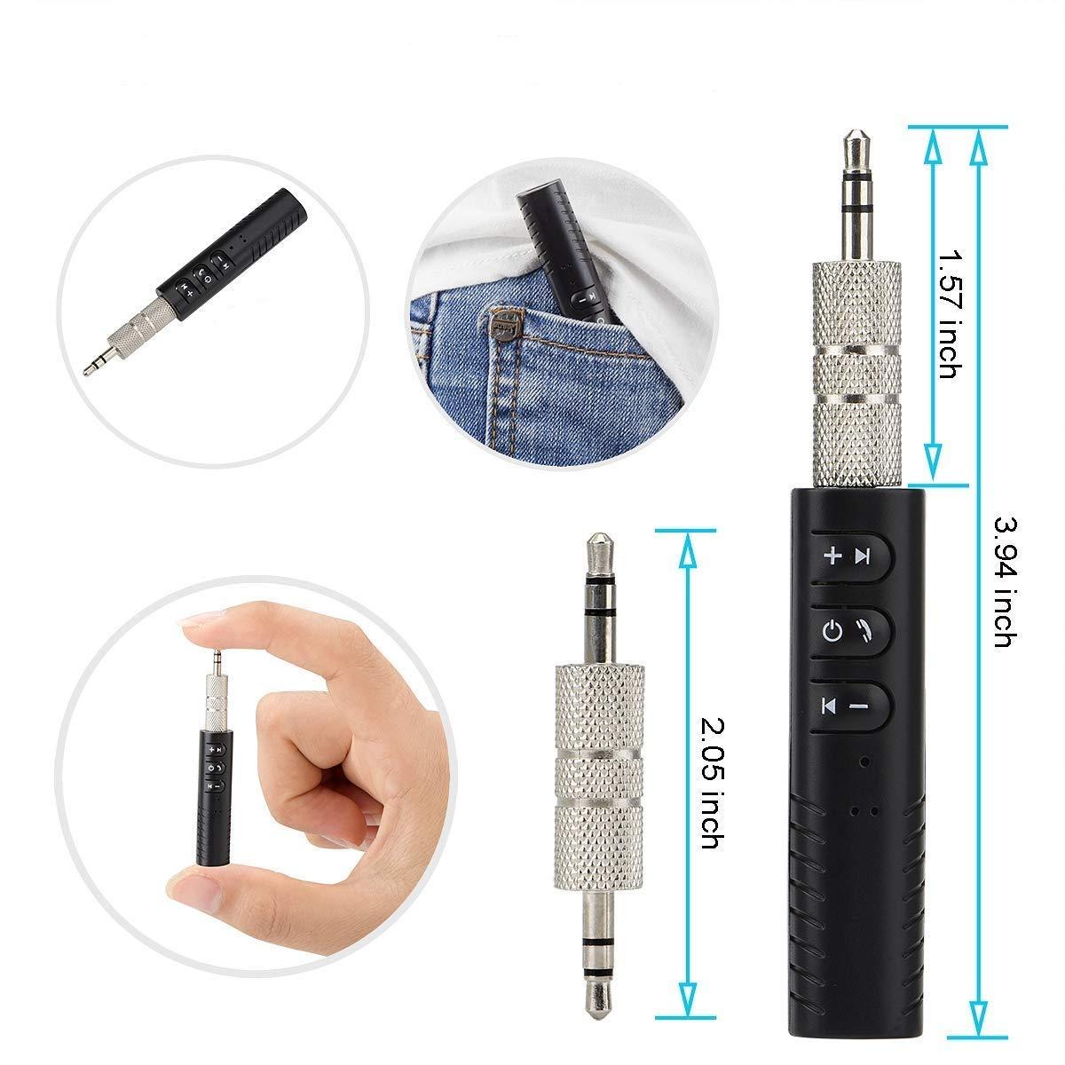 mit Audio Adapter und USB Kabel Woonavir Wireless Music Empf/änger Bluetooth Aux 3.5mm Adapter mit Clip Design f/ür Heim und Auto Audio Bluetooth Empf/änger