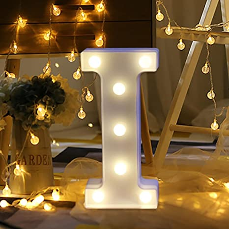 1f084b742cd9 Amazon.com: Alelife 26 English Alphabet Lights LED Light up White Plastic  Letters Standing Hanging Birthday Party Show Love Home Decor Wall Light  (I): Home ...
