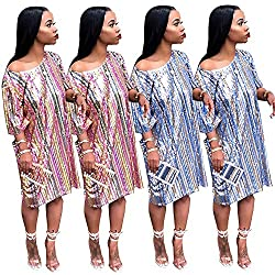 Women's Sequin Striped Rainbow Loose Dress