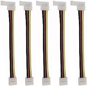 5pcs 6pin LED Strip Light 5050 RGBWW Strip Connector for Conductor 12mm Strip to Strip Jumper Led Strip Connector.