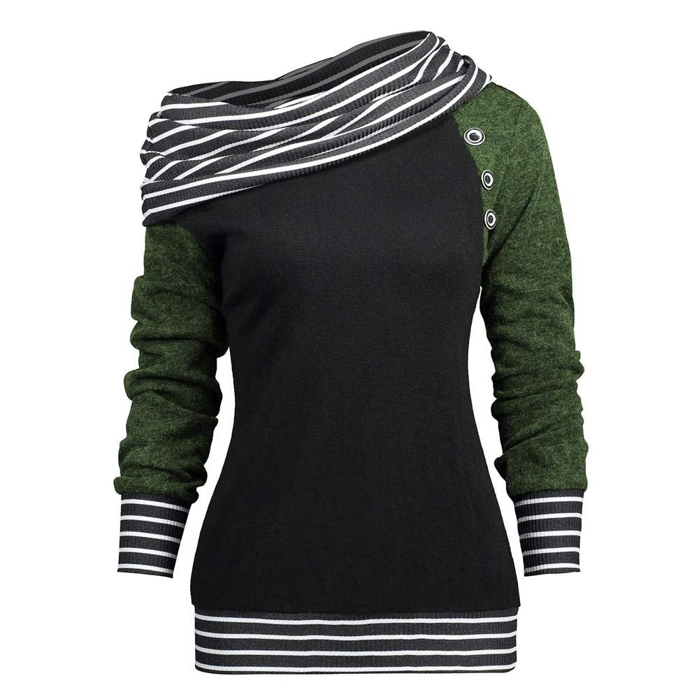 Womens Sweatshirt Clearance Forthery Baggy Off-Shoulder Striped Button Pullover Tops