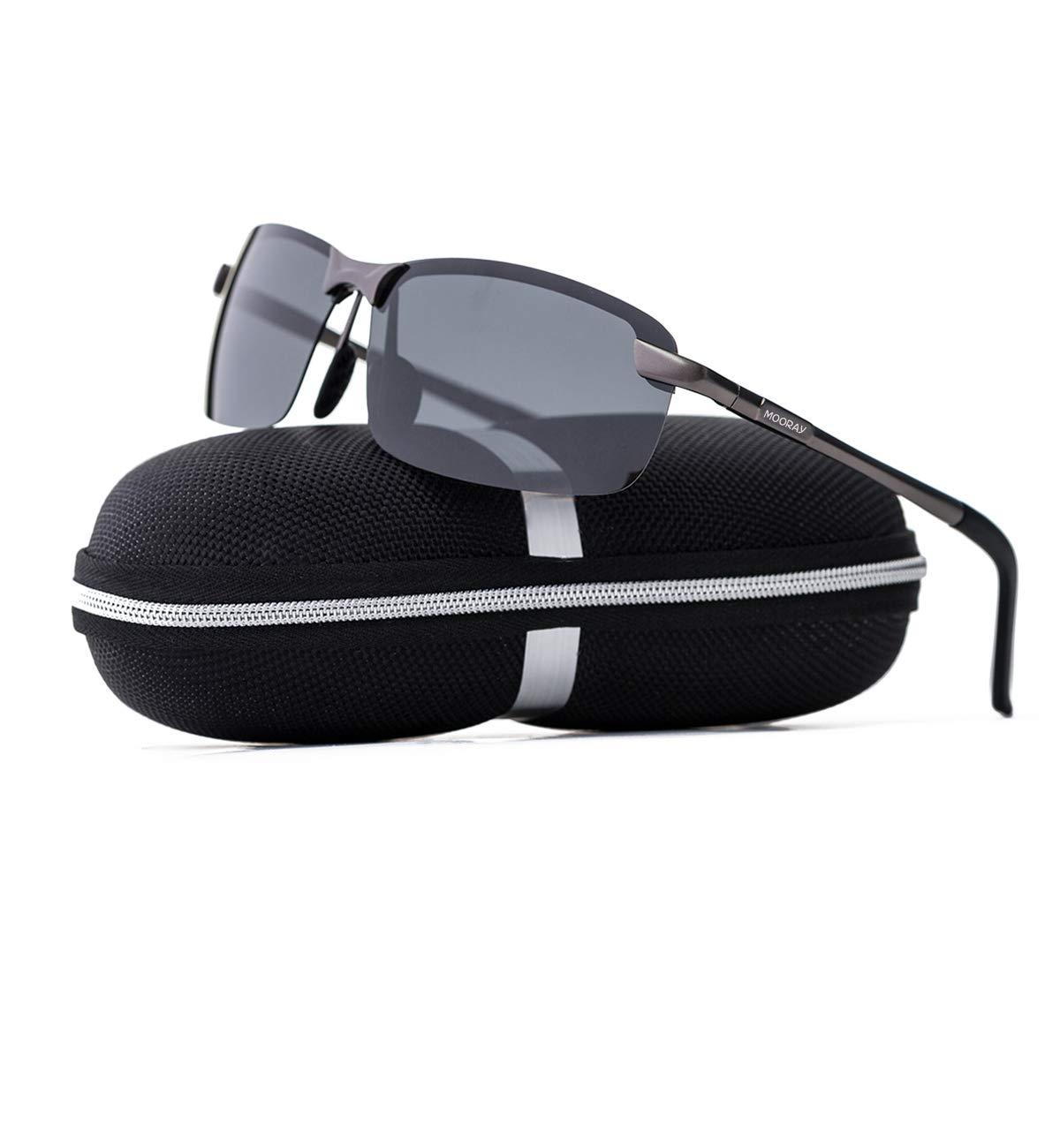 MOORAY Polarized Sunglasses for Men,UV400 Lens Sports Glasses,Outdoor Eyewear, Metal Frame Sunglasses(Grey)