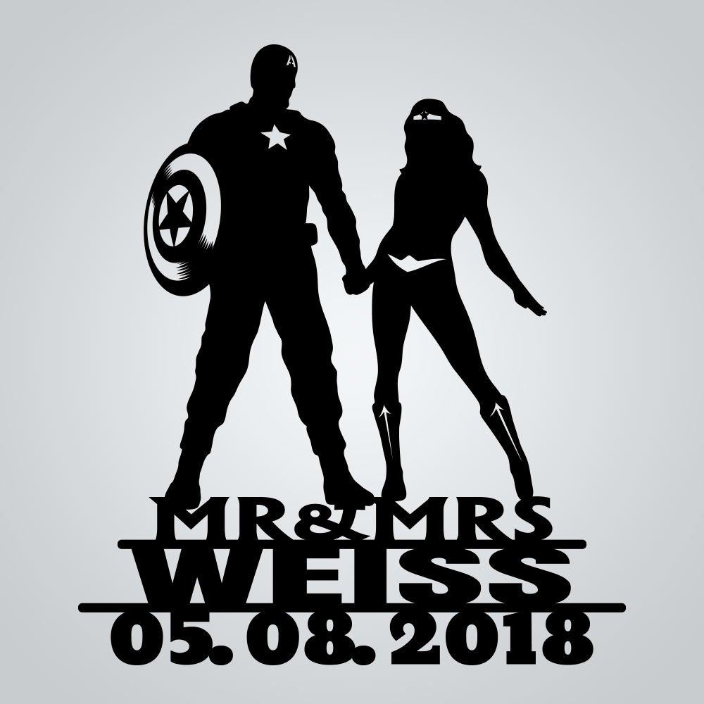 Wedding guest book - Notebook - inspired by Captain America and Wonder woman by Frog Studio Home (Image #3)