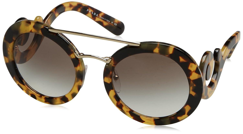 8de34d0d2831 Prada PR13SS 7S00A7 Medium Havana PR13SS Round Sunglasses Lens Category 2  Size at Amazon Women s Clothing store