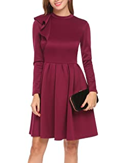 965295820f ELESOL Women Long Sleeve One Shoulder Ruffle Mock Neck Cocktail Fit and Flare  Dress