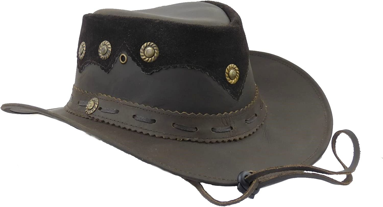 Lederhut Westernhut Cowboyhut mit Kinnband schwarz oder braun