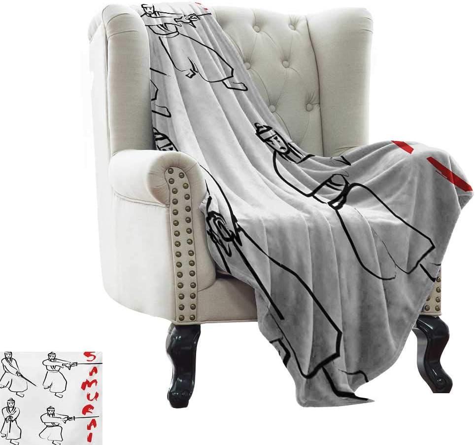 "BelleAckerman Picnic Blanket Japanese,Fight Figures of Samurai with Katana on White Background Asian Martial Art Pattern,Red Black Throw Lightweight Cozy Plush Microfiber Solid Blanket 35""x60"""