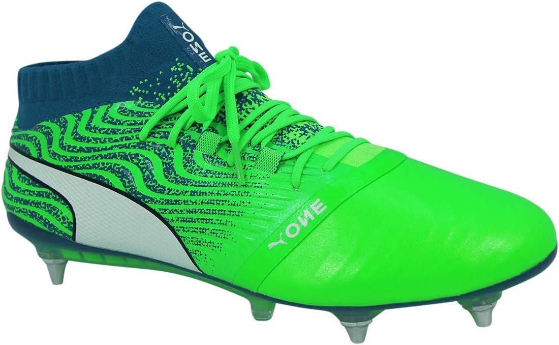 Entièrement neuf dans sa boîte PUMA One 18.1 MX SG blanc vert lagon RRP £ 190 Royaume-Uni 9 Hommes Chaussures De Football