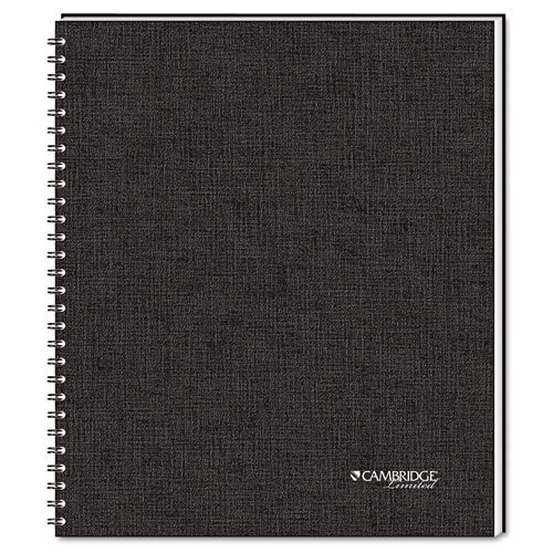 Foil Stamped Black Linen - Cambridge® Limited - Cambridge 1-Subject Wirebound Business Notebook, Lgl Rule, Ltr, WE, 80 Pages - Sold As 1 Each - Foil-stamped black linen cover with black double-wire binding.