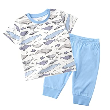 3ec6f11f32 Baby Boy Girl Clothing Set Summer Cotton Printed Fruit Cartoon Animals  Colorful Short Sleeves T-Shirt + Pants Outfit Sets 1-6 Years: Amazon.co.uk:  Clothing