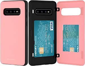 Goospery Galaxy S10 Wallet Case with Card Holder, Protective Dual Layer Bumper Phone Case (Pink) S10-MDB-PNK