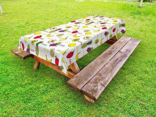 - Ambesonne Fruits Outdoor Tablecloth, Kiwi Banana Plums Lemon Orange Pear Grape Apricot Kitchen Food Print, Decorative Washable Picnic Table Cloth, 58
